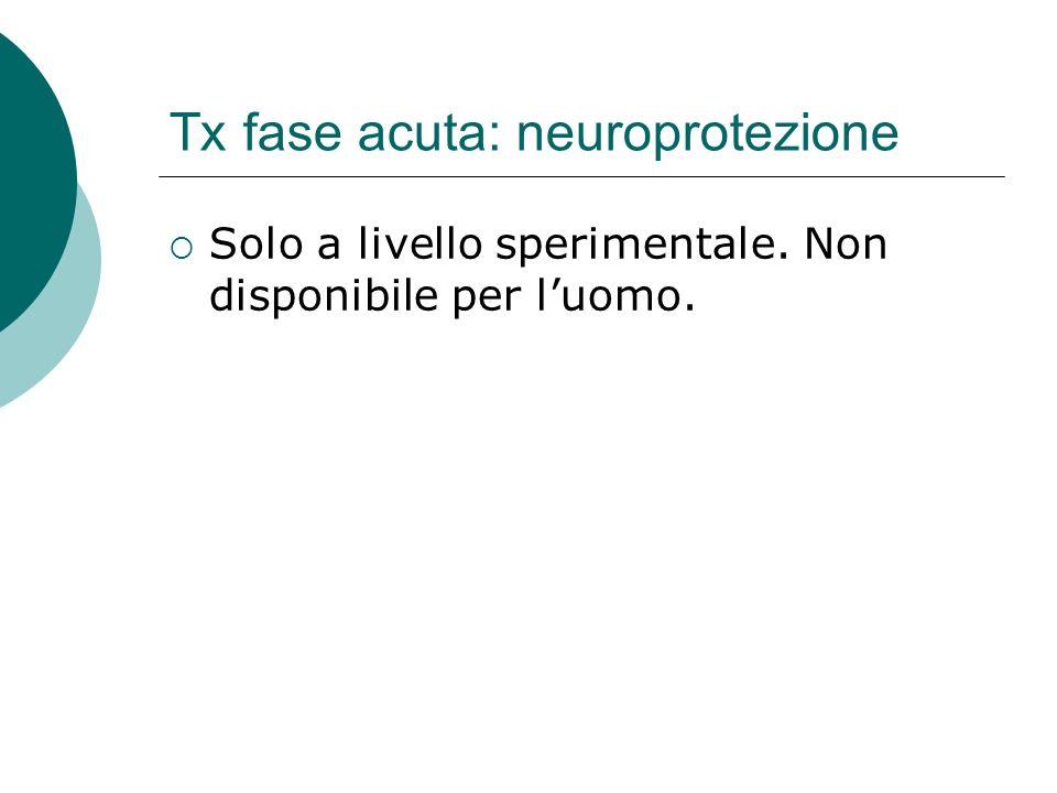 Tx fase acuta: neuroprotezione Solo a livello sperimentale. Non disponibile per luomo.