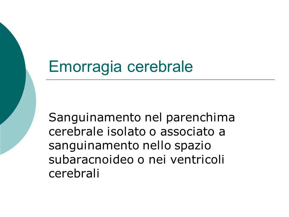 Emorragia cerebrale Sanguinamento nel parenchima cerebrale isolato o associato a sanguinamento nello spazio subaracnoideo o nei ventricoli cerebrali
