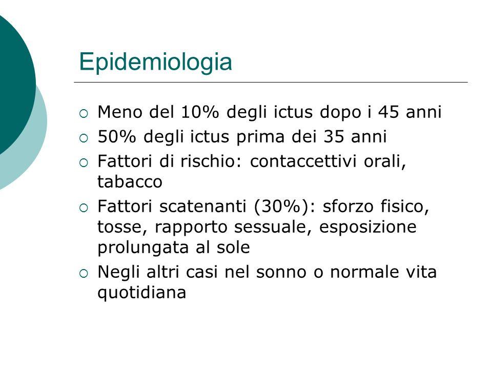 Epidemiologia Meno del 10% degli ictus dopo i 45 anni 50% degli ictus prima dei 35 anni Fattori di rischio: contaccettivi orali, tabacco Fattori scate