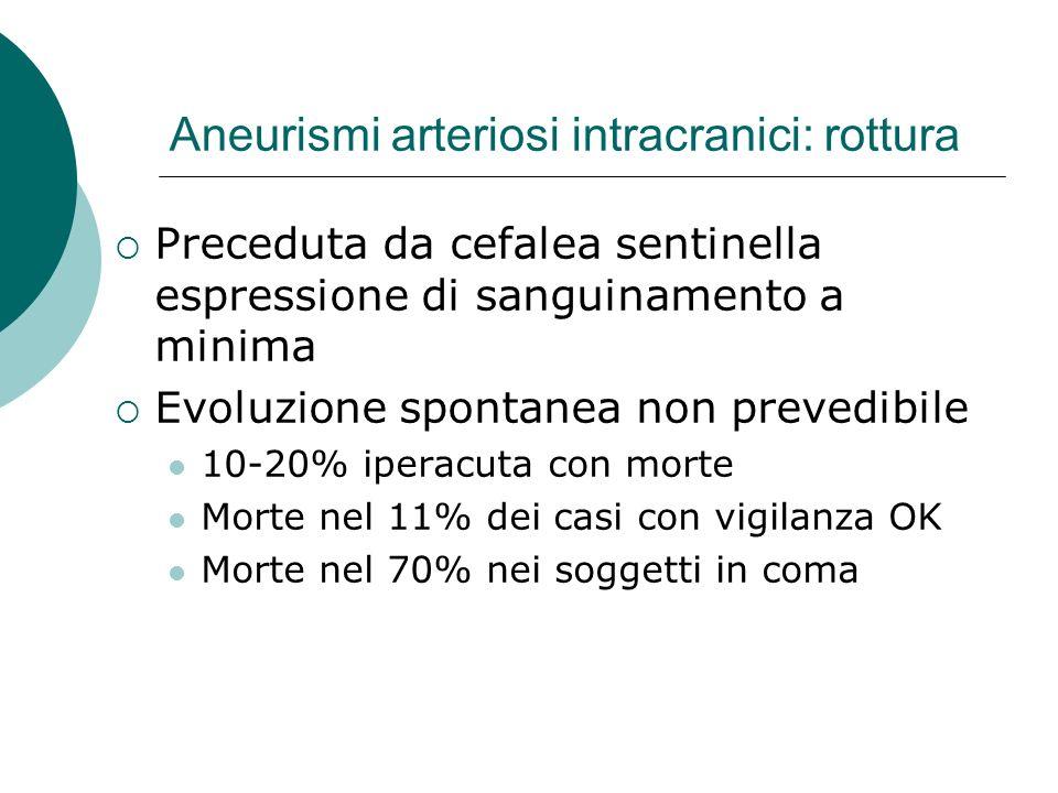 Aneurismi arteriosi intracranici: rottura Preceduta da cefalea sentinella espressione di sanguinamento a minima Evoluzione spontanea non prevedibile 1