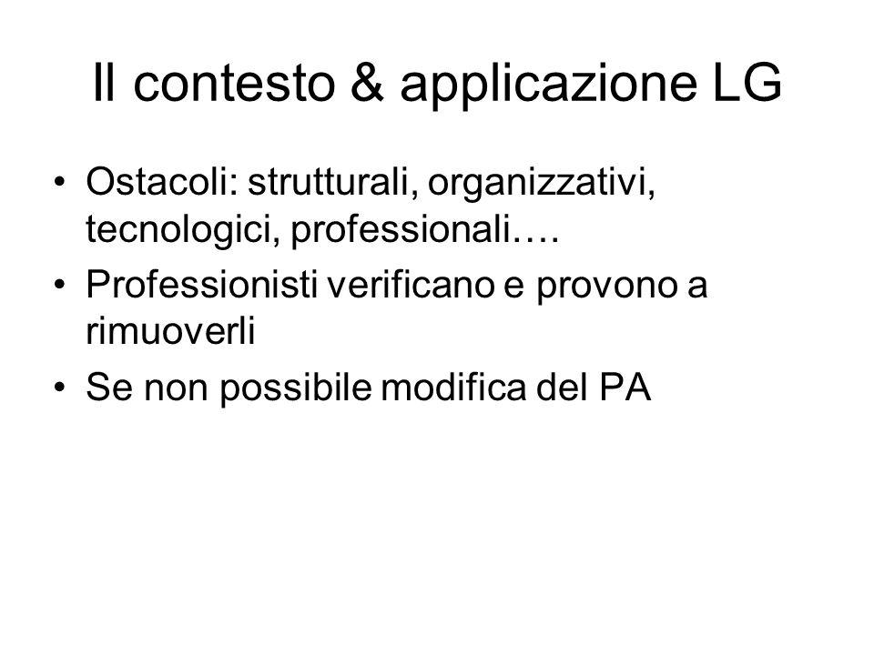 Il contesto & applicazione LG Ostacoli: strutturali, organizzativi, tecnologici, professionali…. Professionisti verificano e provono a rimuoverli Se n