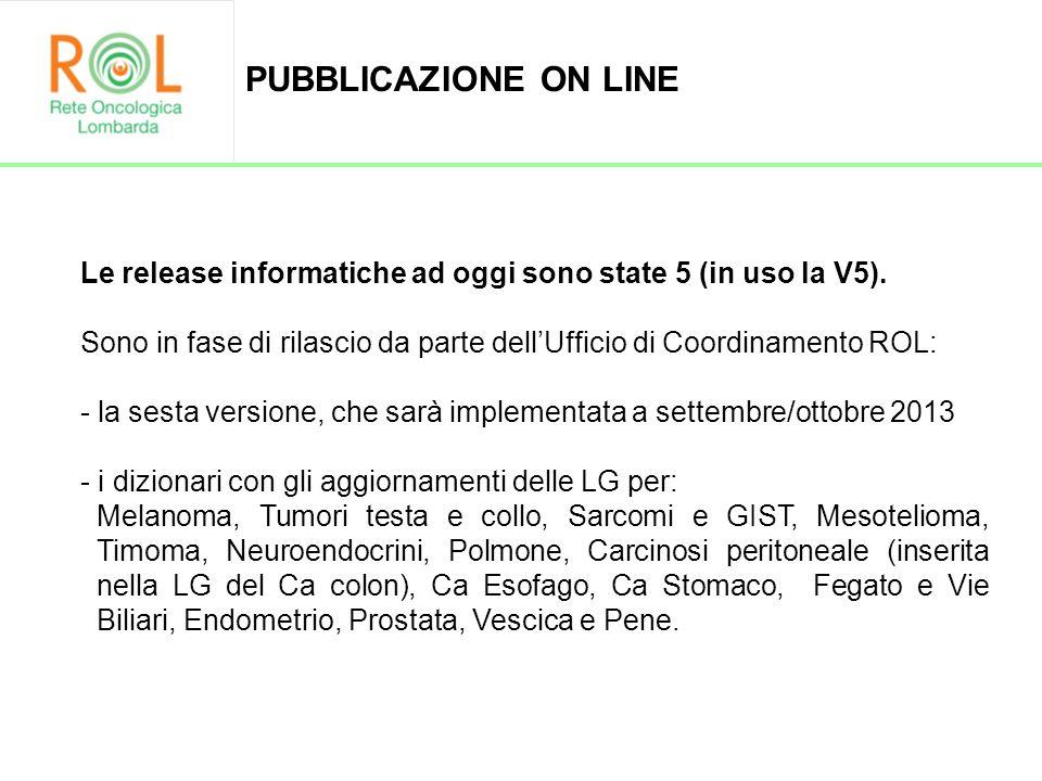 Le release informatiche ad oggi sono state 5 (in uso la V5). Sono in fase di rilascio da parte dellUfficio di Coordinamento ROL: - la sesta versione,