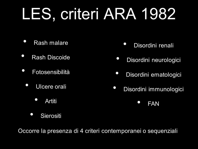 LES, criteri ARA 1982 Rash malare Rash Discoide Fotosensibilità Ulcere orali Artiti Sierositi Disordini renali Disordini neurologici Disordini ematolo