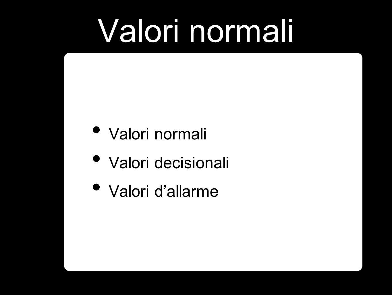 Valori normali Valori decisionali Valori dallarme