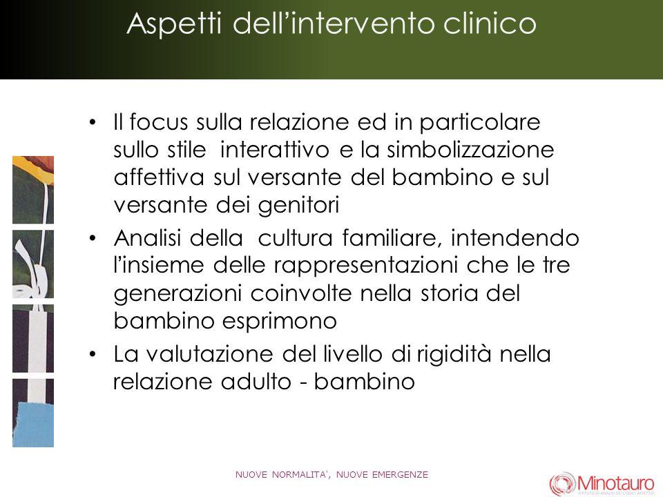 Aspetti dellintervento clinico Il focus sulla relazione ed in particolare sullo stile interattivo e la simbolizzazione affettiva sul versante del bamb