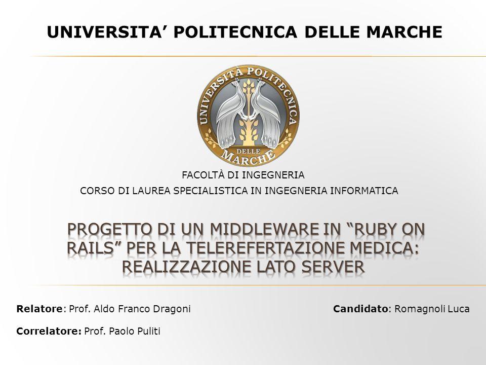 UNIVERSITA POLITECNICA DELLE MARCHE Candidato: Romagnoli Luca CORSO DI LAUREA SPECIALISTICA IN INGEGNERIA INFORMATICA FACOLTÀ DI INGEGNERIA Relatore: