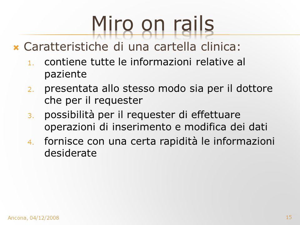 15 Ancona, 04/12/2008 Caratteristiche di una cartella clinica: 1. contiene tutte le informazioni relative al paziente 2. presentata allo stesso modo s