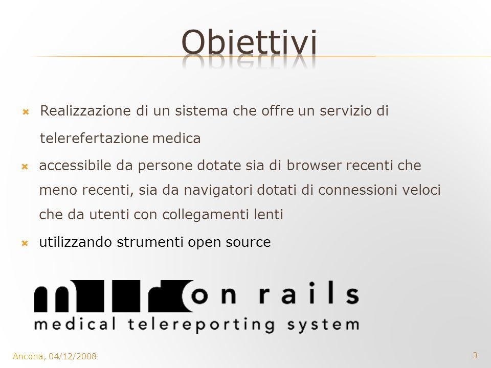 3 Ancona, 04/12/2008 Realizzazione di un sistema che offre un servizio di telerefertazione medica accessibile da persone dotate sia di browser recenti
