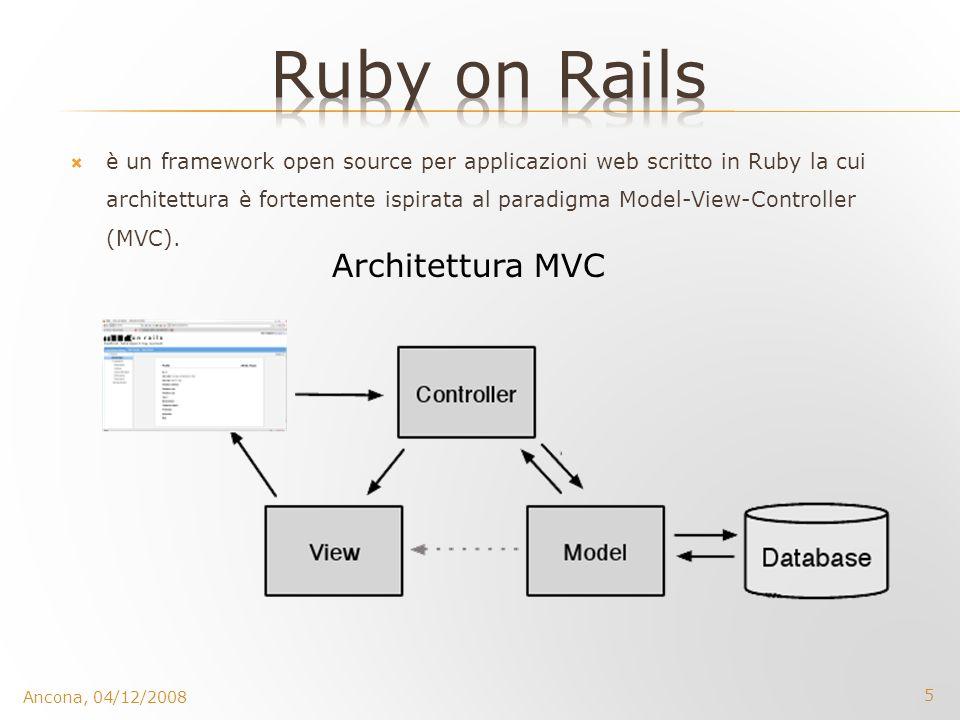 6 La progettazione di Rails è stata governata da due concetti chiave: DRY (Dont repeat Yourself): le definizioni devono essere poste una volta soltanto convention-over-configuration: il programmatore ha bisogno di metter mano alla configurazione soltanto per ciò che differisce dalle convenzioni