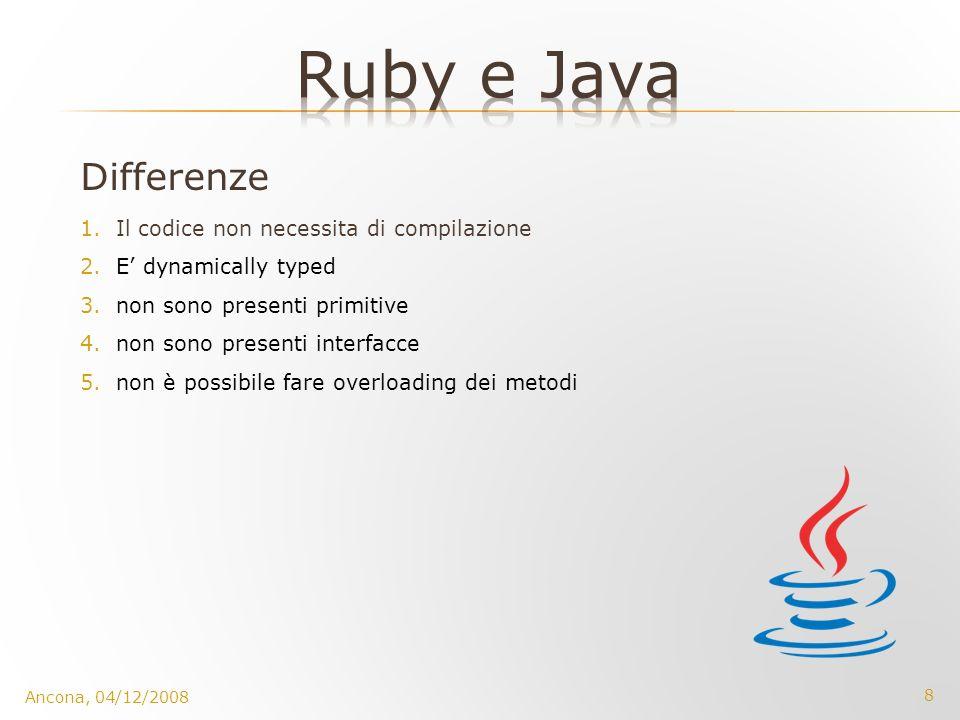 8 Ancona, 04/12/2008 Differenze 1.Il codice non necessita di compilazione 2.E dynamically typed 3.non sono presenti primitive 4.non sono presenti inte