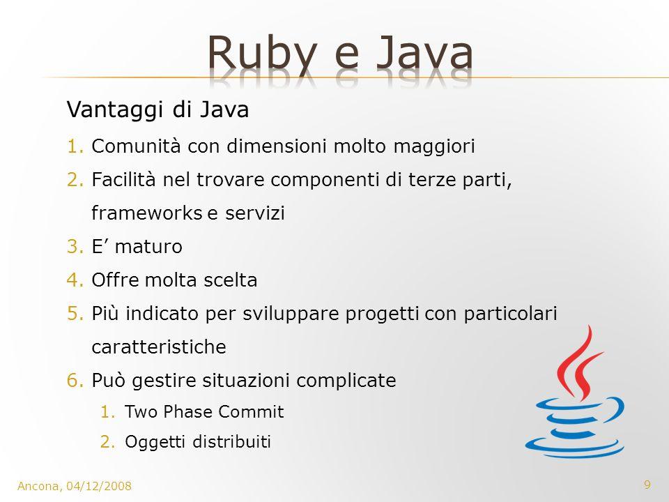 9 Ancona, 04/12/2008 Vantaggi di Java 1.Comunità con dimensioni molto maggiori 2.Facilità nel trovare componenti di terze parti, frameworks e servizi