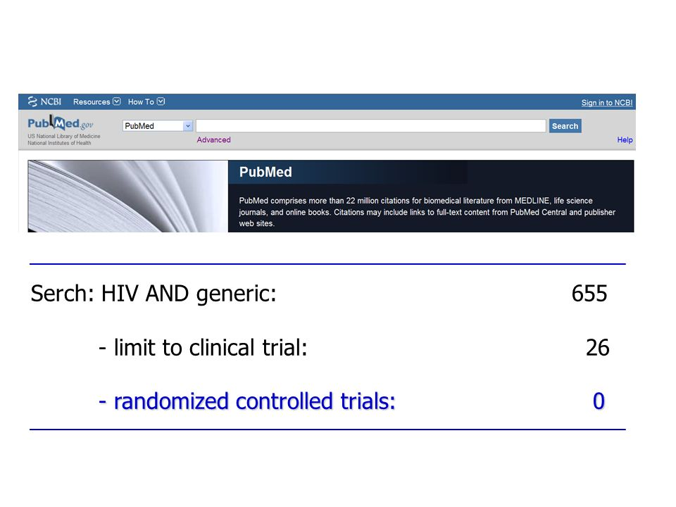Serch: HIV AND generic:655 - limit to clinical trial: 26 - randomized controlled trials: 0