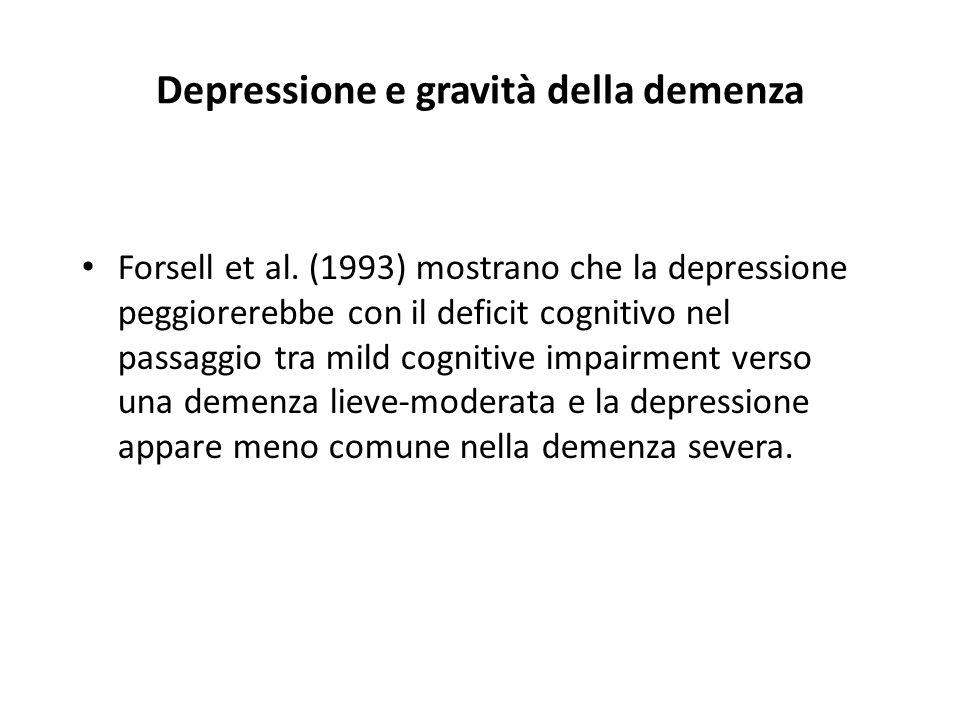 Depressione e gravità della demenza Forsell et al. (1993) mostrano che la depressione peggiorerebbe con il deficit cognitivo nel passaggio tra mild co