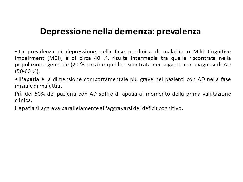Depressione nella demenza: prevalenza La prevalenza di depressione nella fase preclinica di malattia o Mild Cognitive Impairment (MCI), è di circa 40