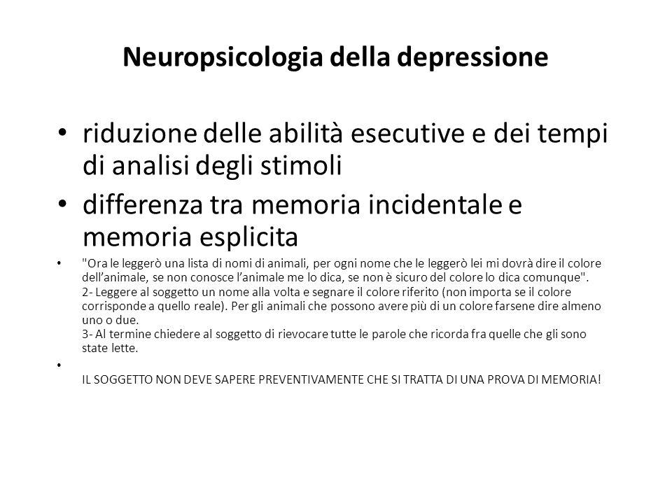 Neuropsicologia della depressione riduzione delle abilità esecutive e dei tempi di analisi degli stimoli differenza tra memoria incidentale e memoria