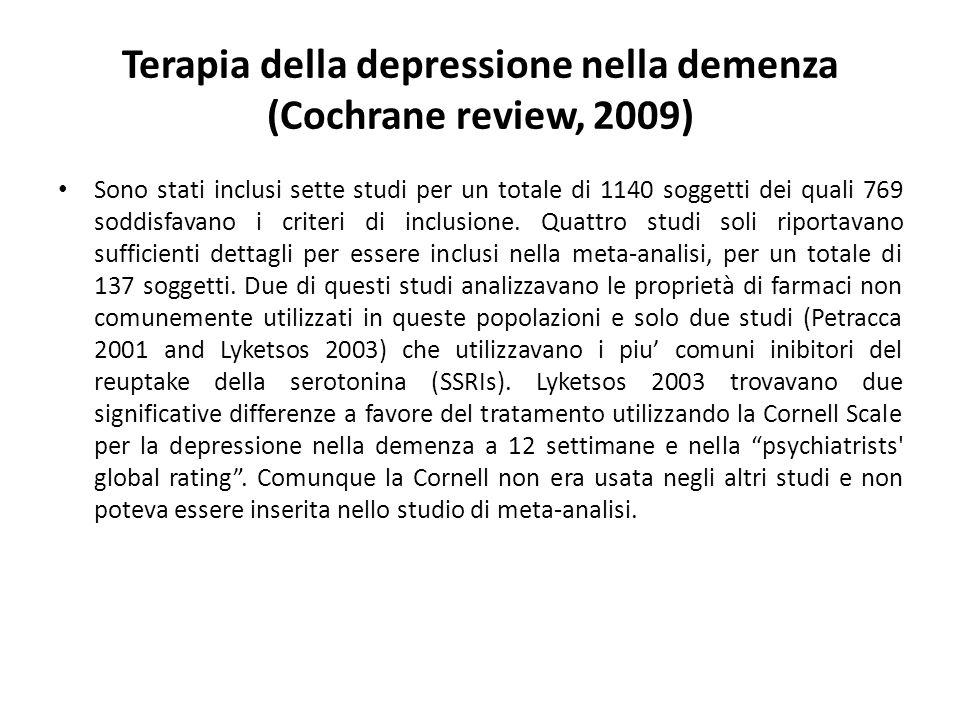 Terapia della depressione nella demenza (Cochrane review, 2009) Sono stati inclusi sette studi per un totale di 1140 soggetti dei quali 769 soddisfava