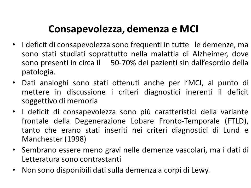 Consapevolezza, demenza e MCI I deficit di consapevolezza sono frequenti in tutte le demenze, ma sono stati studiati soprattutto nella malattia di Alz