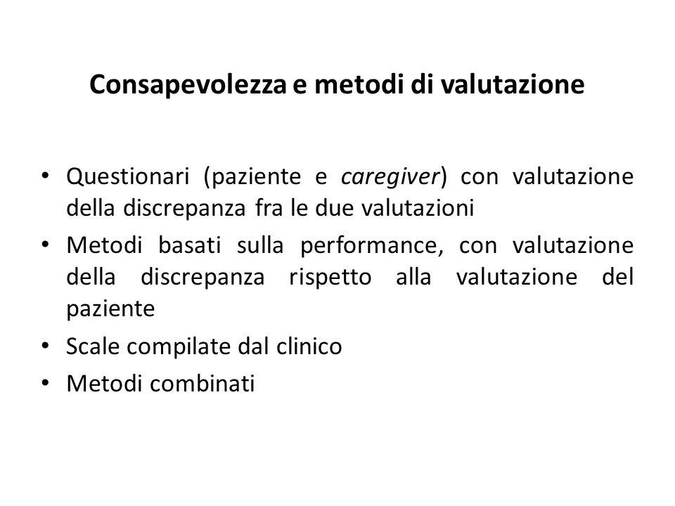 Consapevolezza e metodi di valutazione Questionari (paziente e caregiver) con valutazione della discrepanza fra le due valutazioni Metodi basati sulla