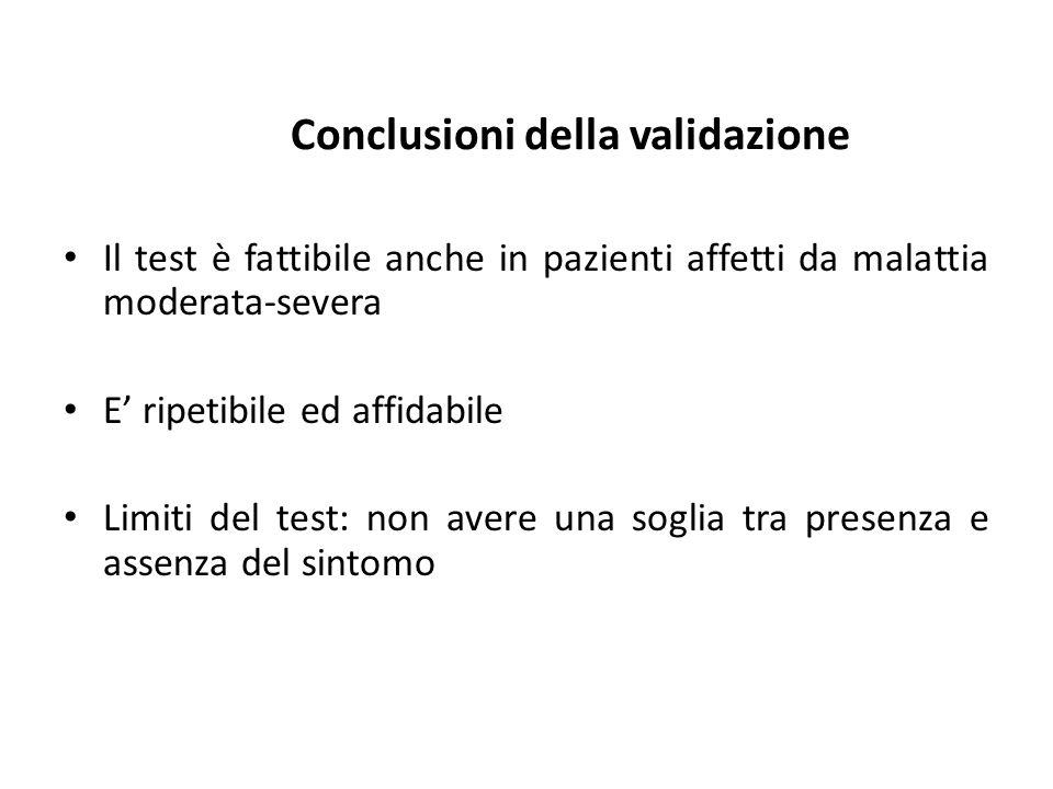 Conclusioni della validazione Il test è fattibile anche in pazienti affetti da malattia moderata-severa E ripetibile ed affidabile Limiti del test: no