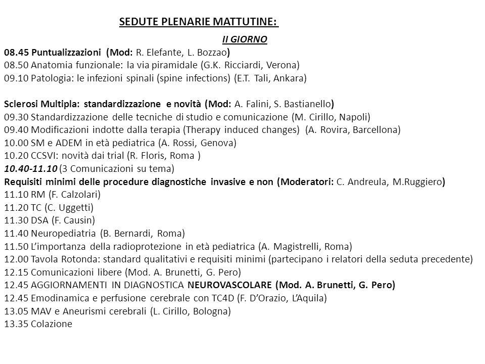 II GIORNO 08.45 Puntualizzazioni (Mod: R. Elefante, L. Bozzao) 08.50 Anatomia funzionale: la via piramidale (G.K. Ricciardi, Verona) 09.10 Patologia: