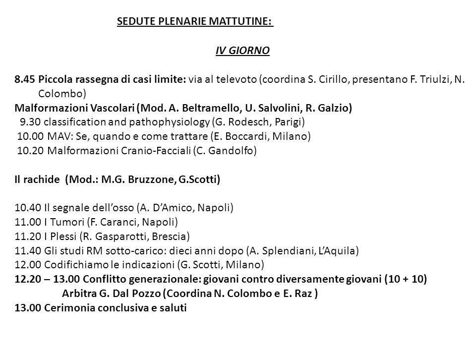 IV GIORNO 8.45 Piccola rassegna di casi limite: via al televoto (coordina S. Cirillo, presentano F. Triulzi, N. Colombo) Malformazioni Vascolari (Mod.