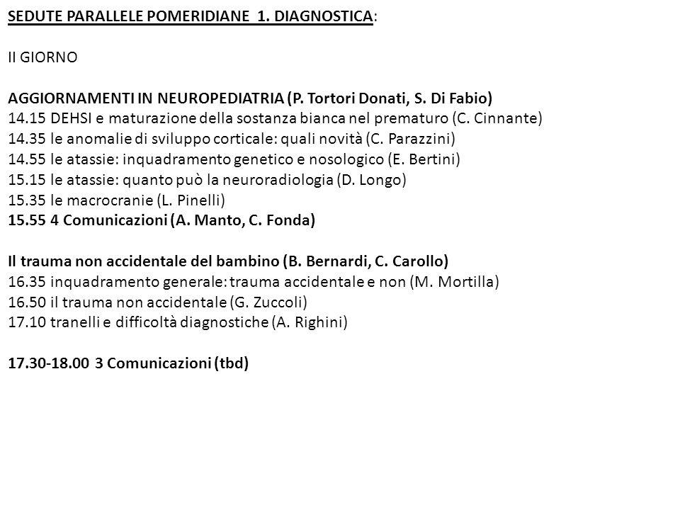 SEDUTE PARALLELE POMERIDIANE 1.DIAGNOSTICA: III GIORNO Aggiornamenti in RM (Mod.: F.