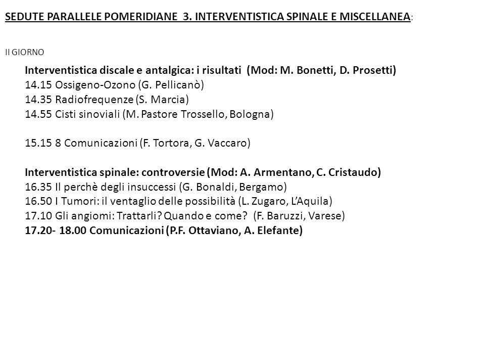Interventistica discale e antalgica: i risultati (Mod: M. Bonetti, D. Prosetti) 14.15 Ossigeno-Ozono (G. Pellicanò) 14.35 Radiofrequenze (S. Marcia) 1