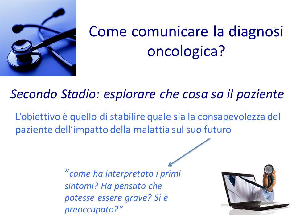 Come comunicare la diagnosi oncologica? Secondo Stadio: esplorare che cosa sa il paziente Lobiettivo è quello di stabilire quale sia la consapevolezza