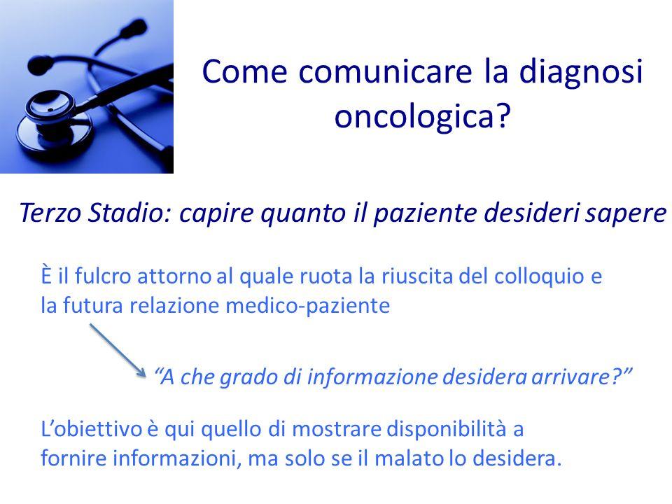 Come comunicare la diagnosi oncologica? Terzo Stadio: capire quanto il paziente desideri sapere È il fulcro attorno al quale ruota la riuscita del col