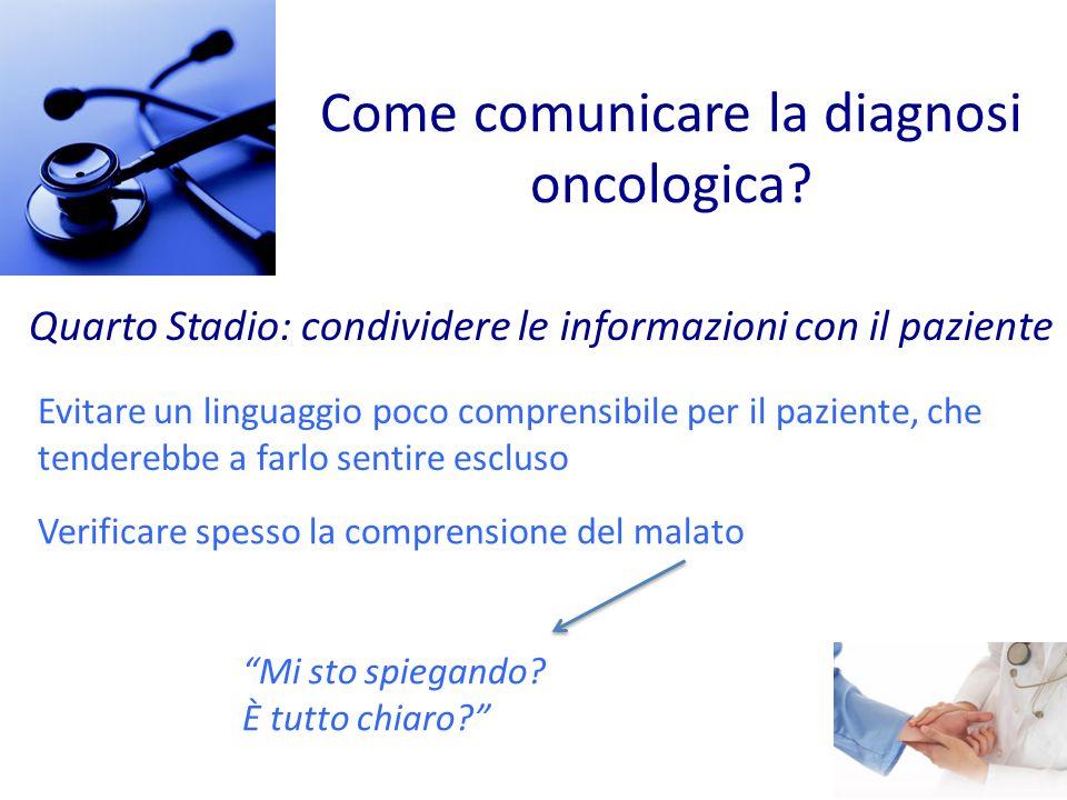 Come comunicare la diagnosi oncologica? Quarto Stadio: condividere le informazioni con il paziente Verificare spesso la comprensione del malato Mi sto