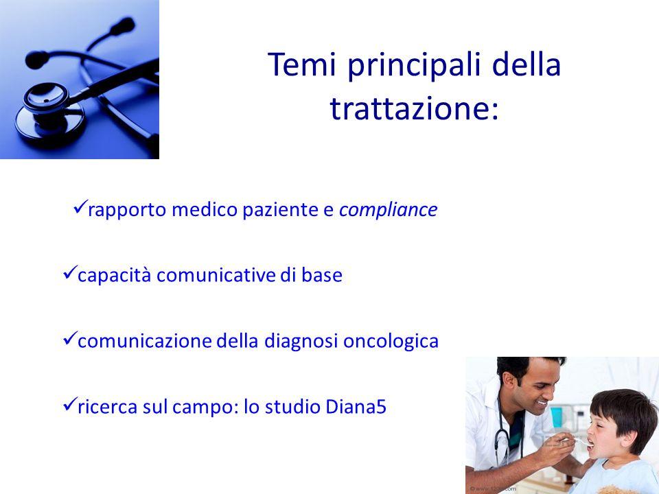Temi principali della trattazione: capacità comunicative di base comunicazione della diagnosi oncologica ricerca sul campo: lo studio Diana5 rapporto