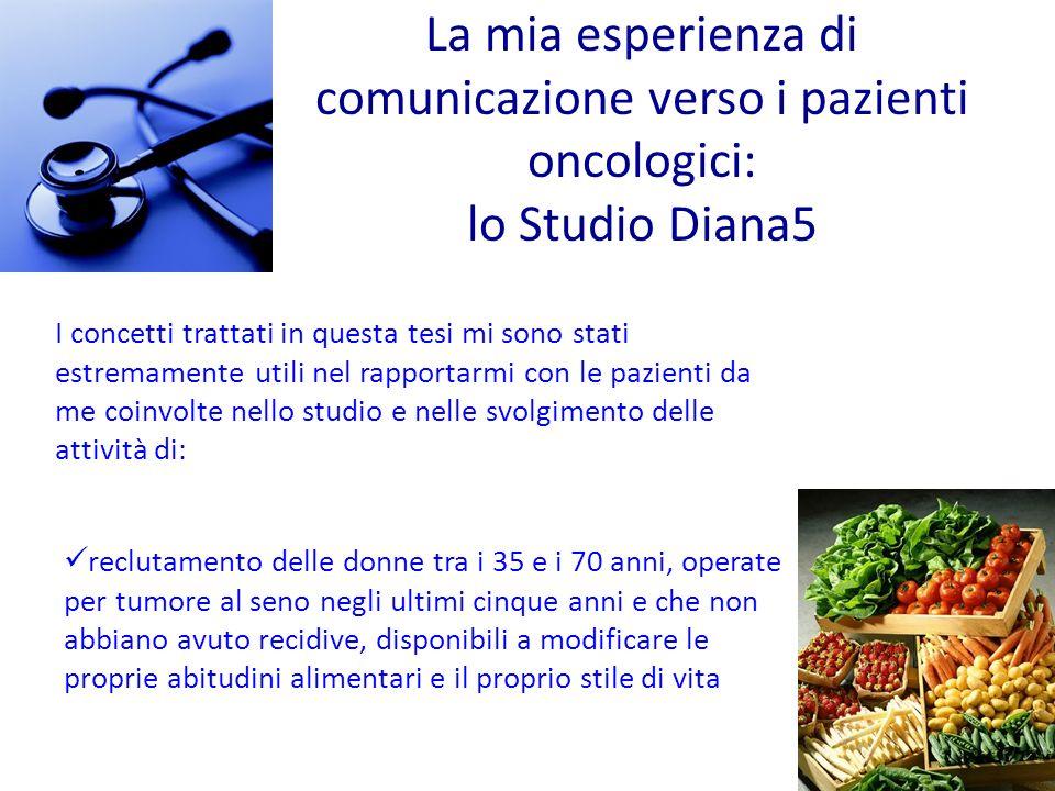La mia esperienza di comunicazione verso i pazienti oncologici: lo Studio Diana5 reclutamento delle donne tra i 35 e i 70 anni, operate per tumore al