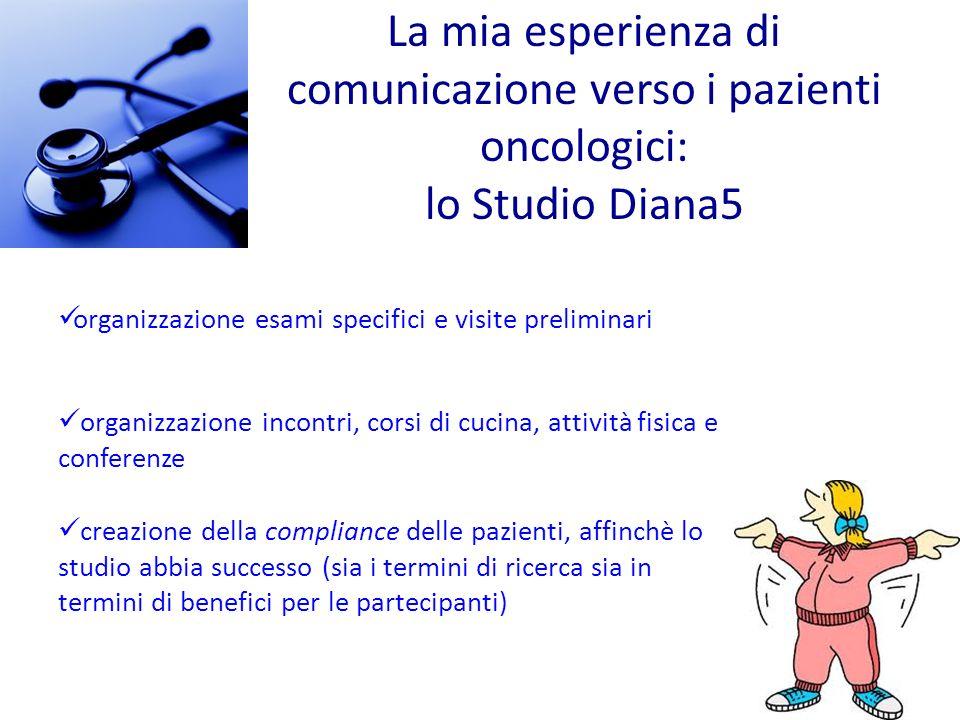 organizzazione incontri, corsi di cucina, attività fisica e conferenze creazione della compliance delle pazienti, affinchè lo studio abbia successo (s