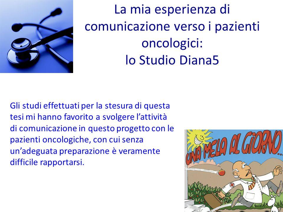 Gli studi effettuati per la stesura di questa tesi mi hanno favorito a svolgere lattività di comunicazione in questo progetto con le pazienti oncologi