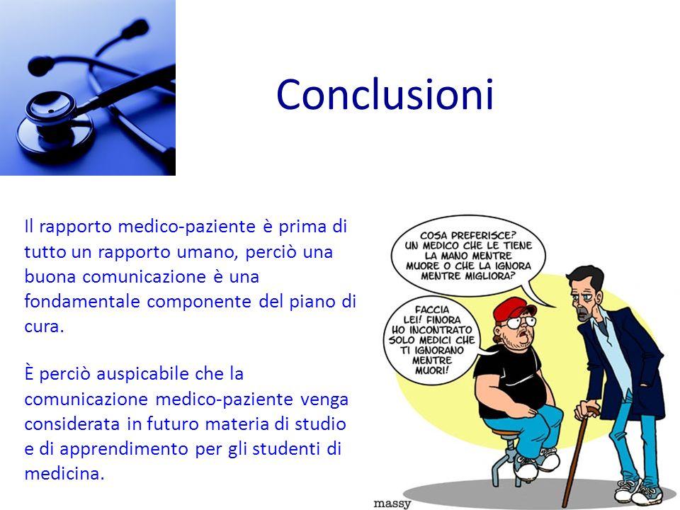 Conclusioni È perciò auspicabile che la comunicazione medico-paziente venga considerata in futuro materia di studio e di apprendimento per gli student