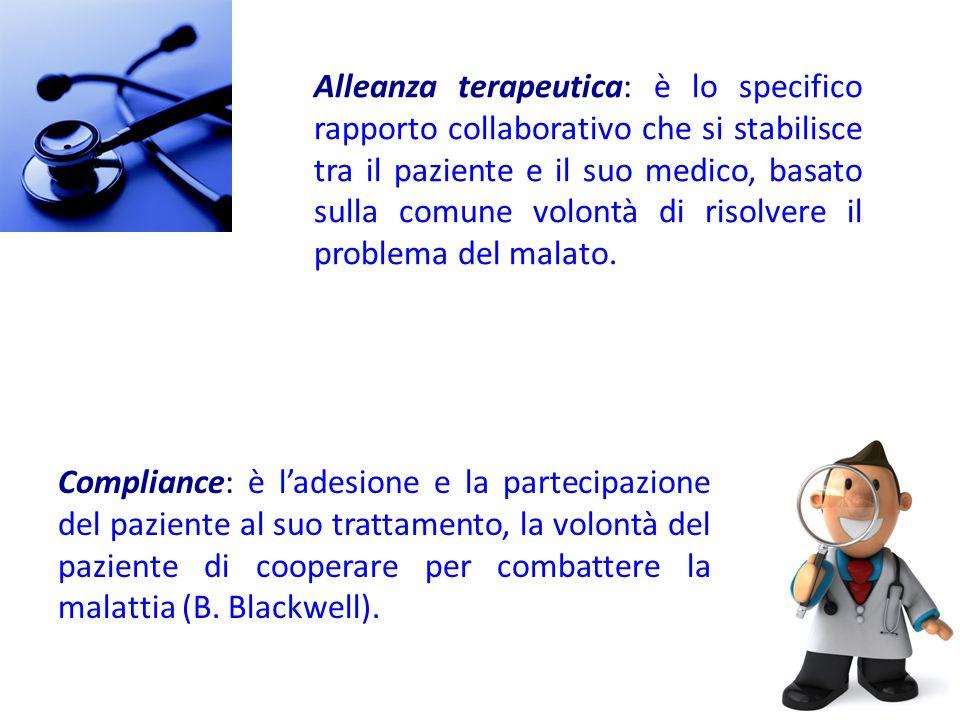 Alleanza terapeutica: è lo specifico rapporto collaborativo che si stabilisce tra il paziente e il suo medico, basato sulla comune volontà di risolver
