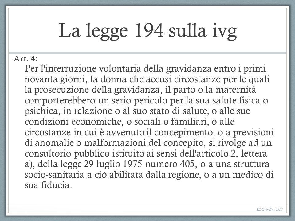 La legge 194 sulla ivg Art. 4: Per l'interruzione volontaria della gravidanza entro i primi novanta giorni, la donna che accusi circostanze per le qua