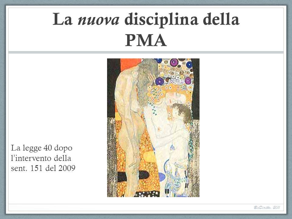 La nuova disciplina della PMA La legge 40 dopo l intervento della sent. 151 del 2009 BioDiritto, 2011