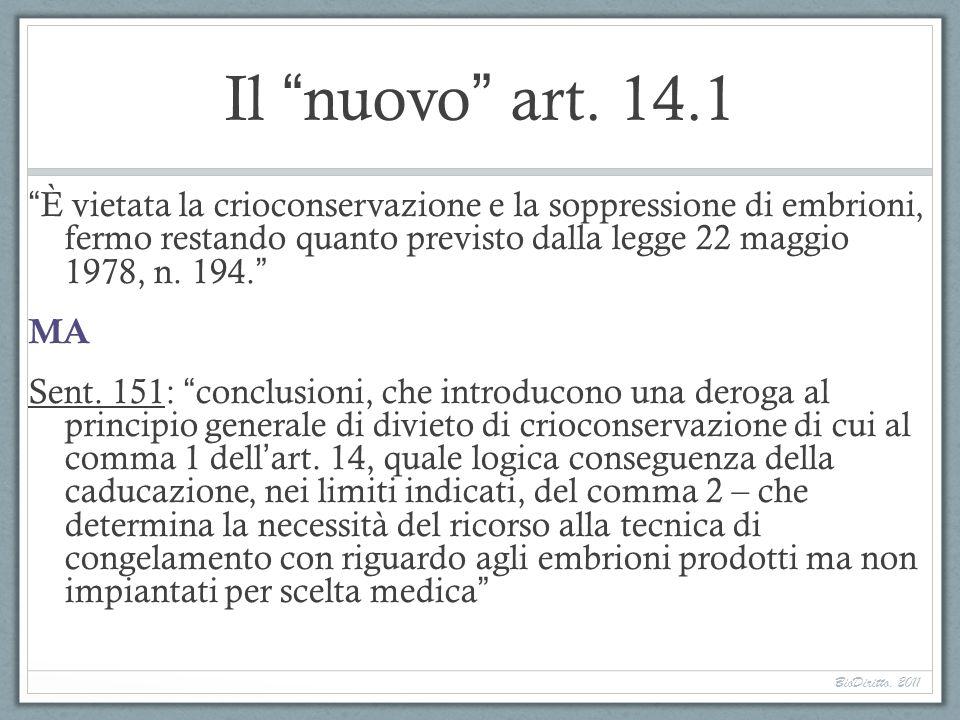 Il nuovo art. 14.1 È vietata la crioconservazione e la soppressione di embrioni, fermo restando quanto previsto dalla legge 22 maggio 1978, n. 194. MA