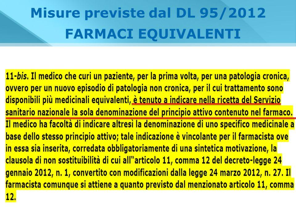 Misure previste dal DL 95/2012 FARMACI EQUIVALENTI