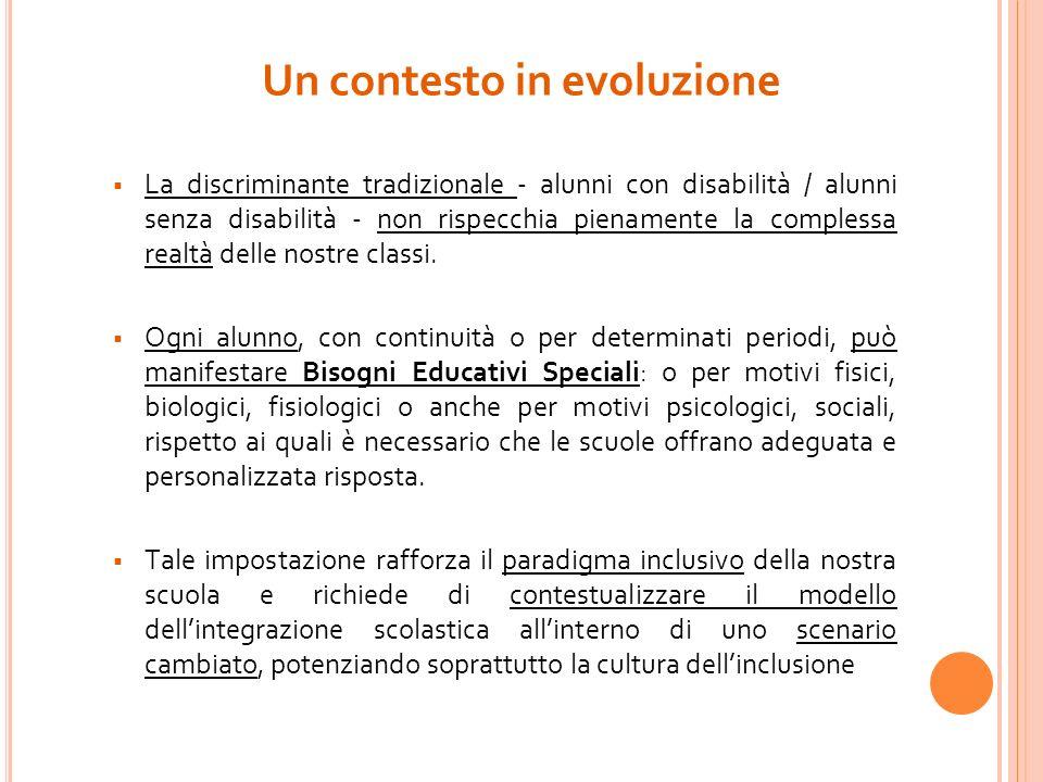 Un contesto in evoluzione La discriminante tradizionale - alunni con disabilità / alunni senza disabilità - non rispecchia pienamente la complessa rea