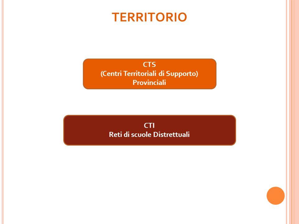 TERRITORIO CTS (Centri Territoriali di Supporto) Provinciali CTI Reti di scuole Distrettuali