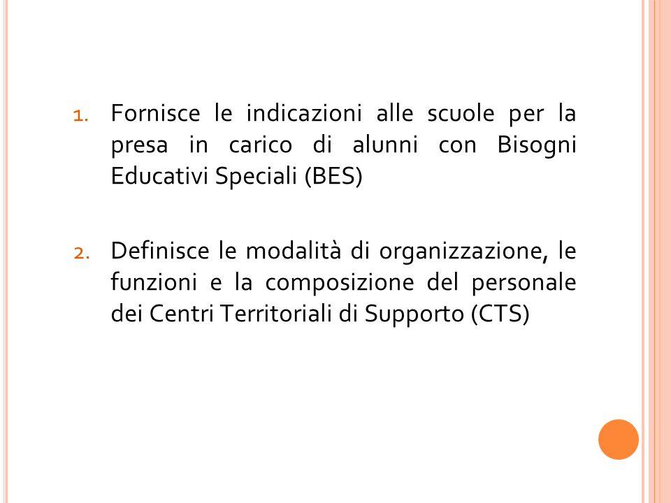 1. Fornisce le indicazioni alle scuole per la presa in carico di alunni con Bisogni Educativi Speciali (BES) 2. Definisce le modalità di organizzazion