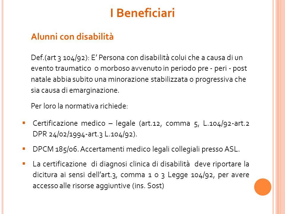 I Beneficiari Alunni con disabilità Def.(art 3 104/92): E Persona con disabilità colui che a causa di un evento traumatico o morboso avvenuto in perio