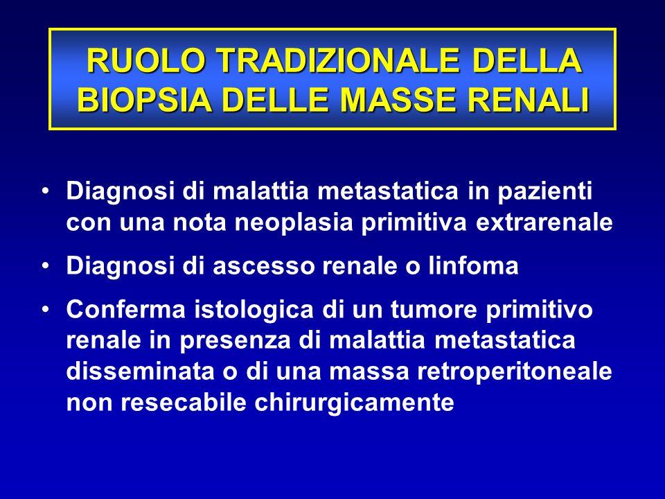 SICUREZZA –Rischio di sanguinamento –Rischio di seeding BIOPSIA DELLA MASSE RENALI INCERTEZZE STORICHE TECNICA –Rischio di prelievo non diagnostico –Errori di campionamento (eterogeneità intratumorale) EFFICACIA –Accuratezza diagnostica –Impatto sulle decisioni cliniche