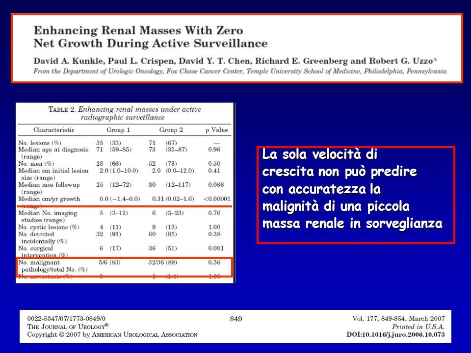 La sola velocità di crescita non può predire con accuratezza la malignità di una piccola massa renale in sorveglianza