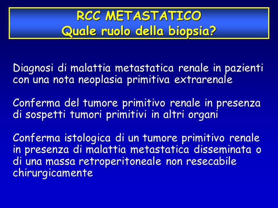 RCC METASTATICO Quale ruolo della biopsia? Diagnosi di malattia metastatica renale in pazienti con una nota neoplasia primitiva extrarenale Conferma d