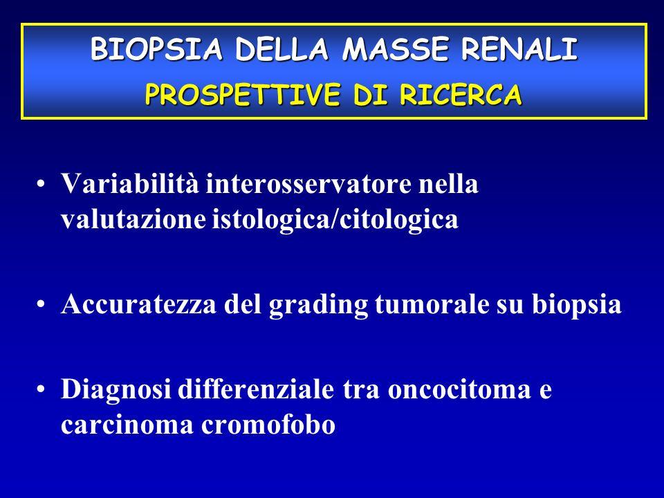 Variabilità interosservatore nella valutazione istologica/citologica Accuratezza del grading tumorale su biopsia Diagnosi differenziale tra oncocitoma