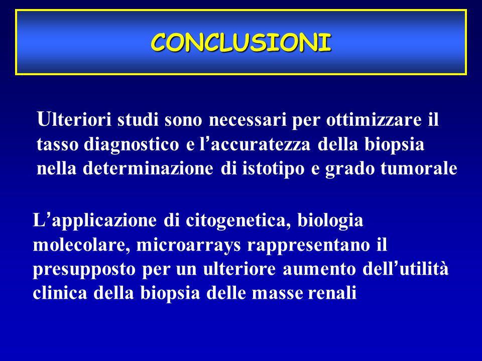 U lteriori studi sono necessari per ottimizzare il tasso diagnostico e laccuratezza della biopsia nella determinazione di istotipo e grado tumorale CO