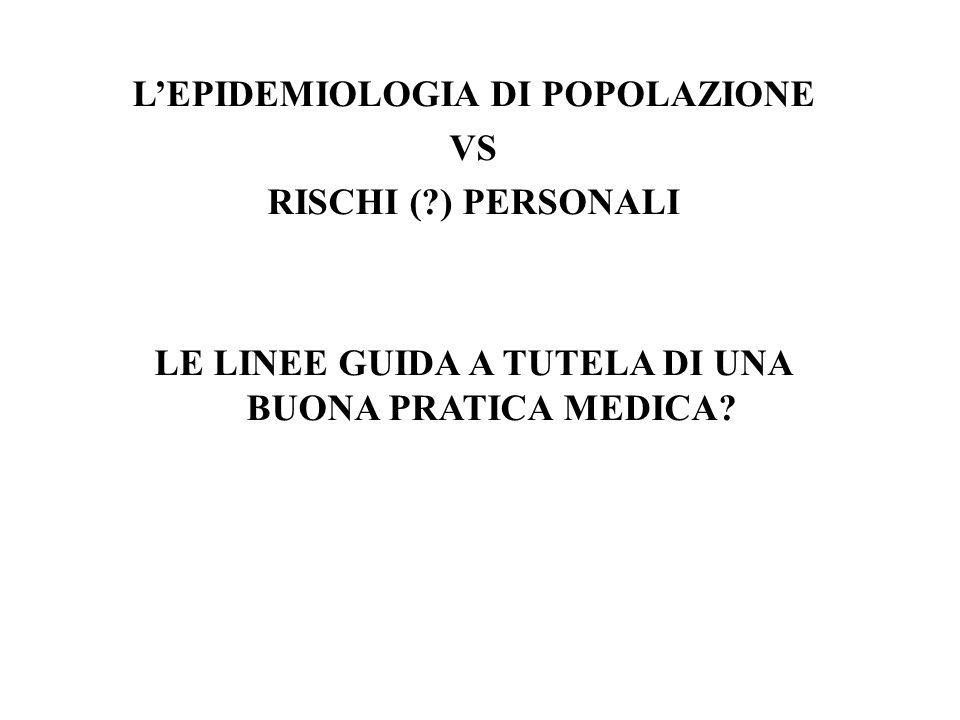 LEPIDEMIOLOGIA DI POPOLAZIONE VS RISCHI (?) PERSONALI LE LINEE GUIDA A TUTELA DI UNA BUONA PRATICA MEDICA?